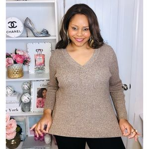 3X Ribbed Long Sleeve V-Neck Brown Sweater Top